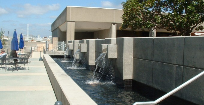 Concrete Water Feature With Multiple Weirs